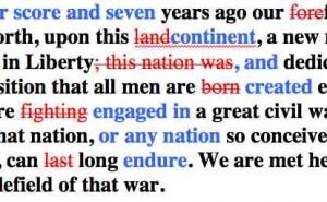 Edits of Gettysburg Address