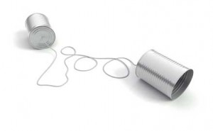 Cans connected by a string